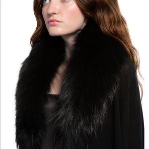 Alice + Olivia Izzy Fox fur cardigan black Med.